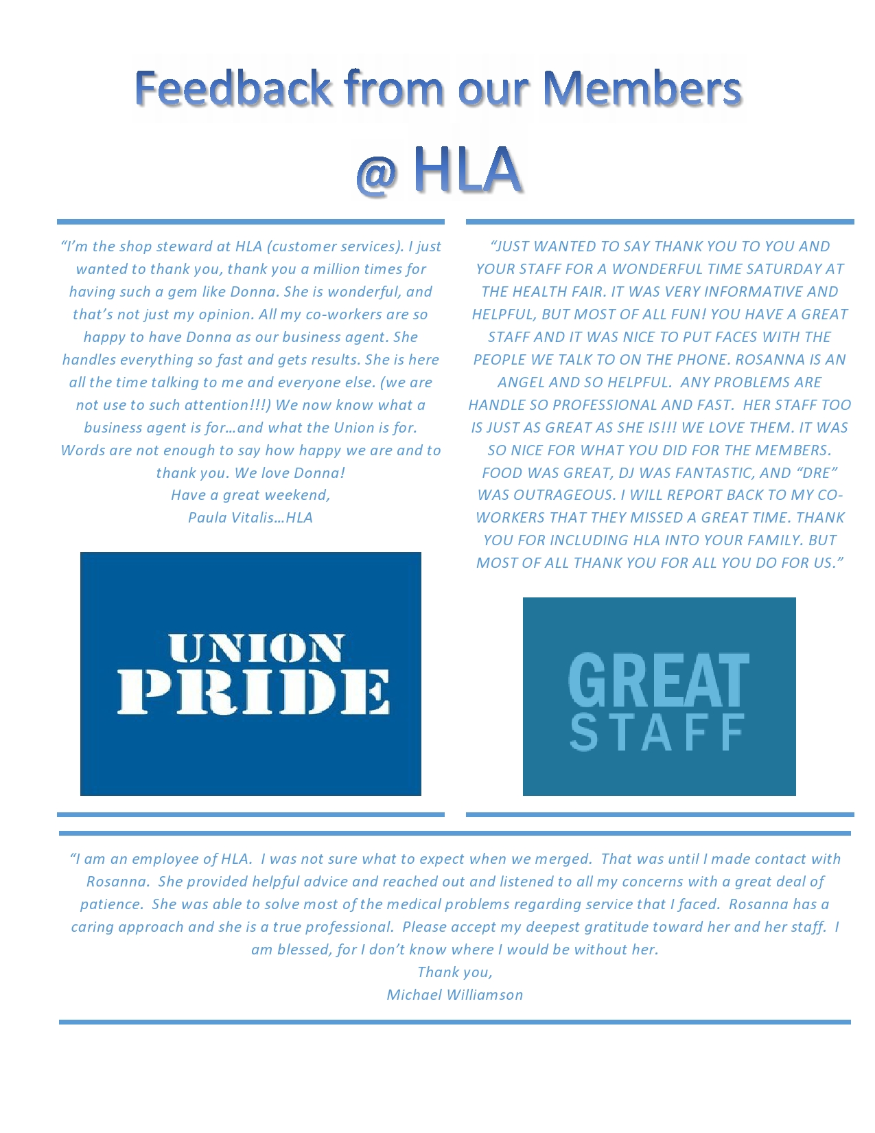 Feedback from our members! | Local810